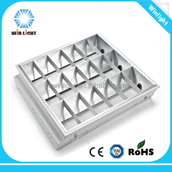Fluorescent office t8 recessed led grille light frame for led light tubes