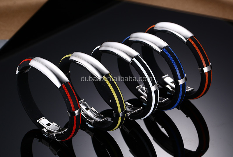 New Men's Multi Color Punk Rubber Stainless Steel Wristband Clasp Cuff Bangle Bracelet
