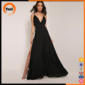 Woman deep V neck backless plus size long maxi chiffon dress