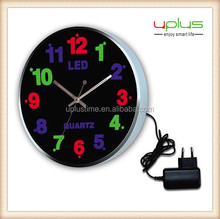 LED colorful night light round 12 inch wall clock for decoration