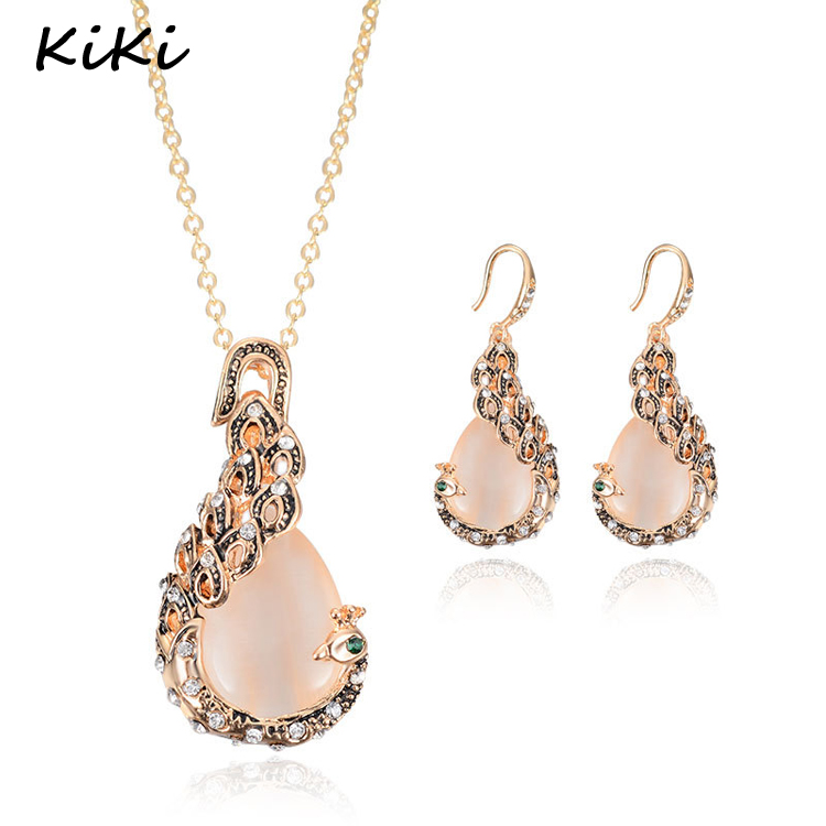 Vintage Charming 18K Gold Peacock Jewelry Sets Women Crystal Necklace earrings sets/