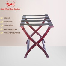 Customized bedroom solid wood luggage rack with Black Straps