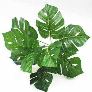 High Simulation 9 Heads 32cm Decorative Tropical Artificial Monstera Leaf