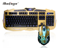 Custom USB Wired Golden game keyboard and Mouse Combo