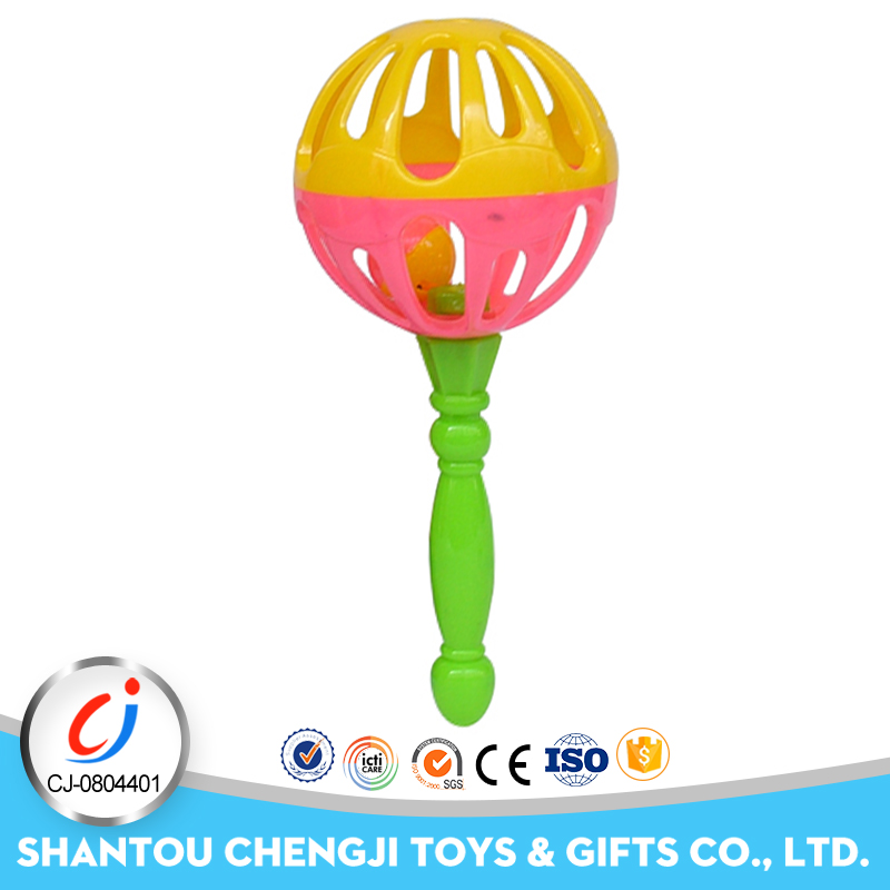 Cheap wholesale rattle toy musical plastic hand bell for baby