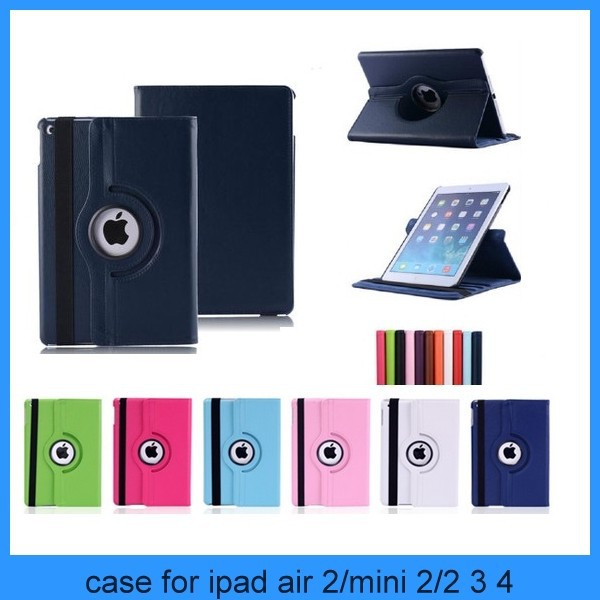 For ipad rotating case 360 Rotating Leather Case Smart Stand Cover for Apple iPad Air 2 3/4 Mini(PT-IP6L211)