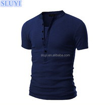 men 2017 cotton design tshirt male slim fit front button up plain stretch rayon cotton casual fake two muscle t shirt