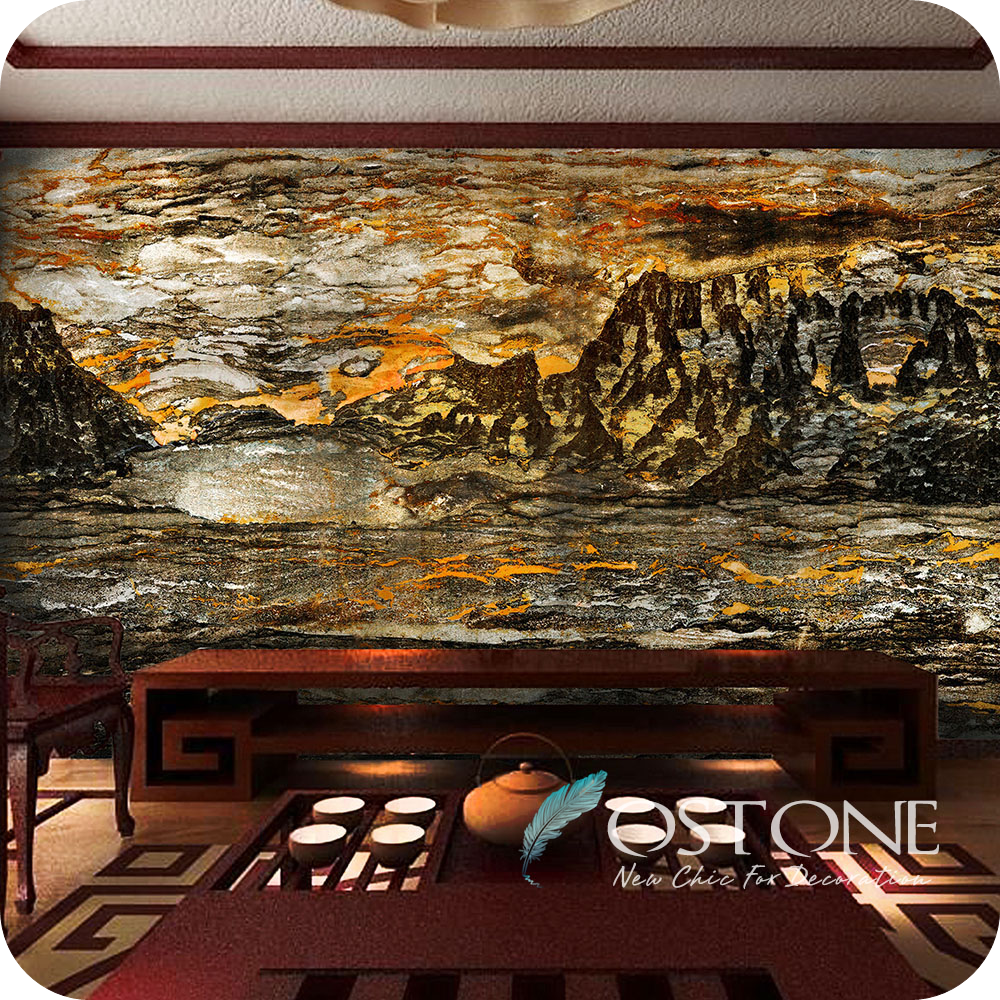 Andes Landscape Marble Tile Manufacturers, Wall Decoration Stone With Mountain &River Background