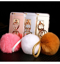 Mirror Rabbit Fur Plush Ball TPU Clear Soft Strap Cover Case For iPhone 6 6S for Samsung S6
