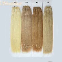Straight human hair extension weft,hair extension blond,golden queen hair extension