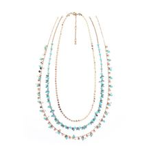 New multi layer necklace, European and American fashion folk wind exaggeration jewelry, long alloy can split neck chain female