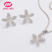 Stylish flower shaped 925 silver jewelry white gold plated costume jewelry sets