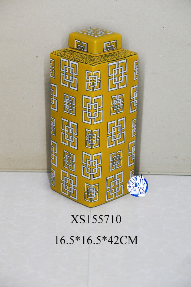 marine square yellow porcelain ceramic jar for home decoration