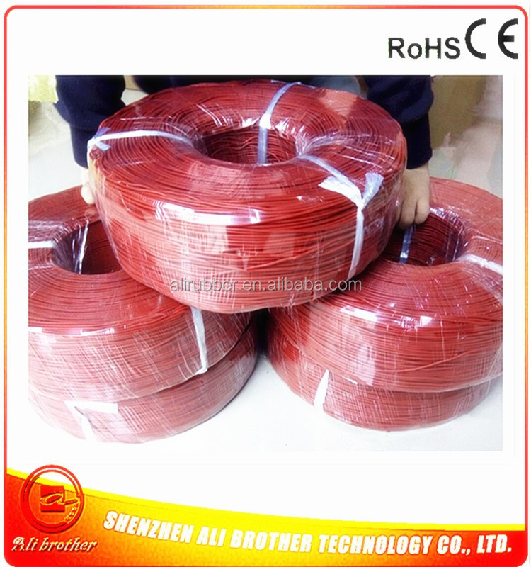 Silicone Rubber Heating Cable Color Red Diameter 2mm 220v 0.1ohm/m inner copper diameter 0.16mm