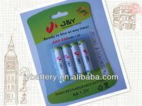 Ready to use nimh rechargeable battery 1.2V 850mah AAA Cell 4 Pack Carded Battery