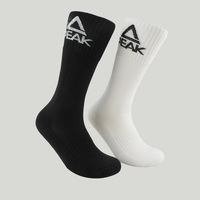 PEAK Brand New Men Sport Socks Breathable Basketball Socks White Black WB07 Free Shipping