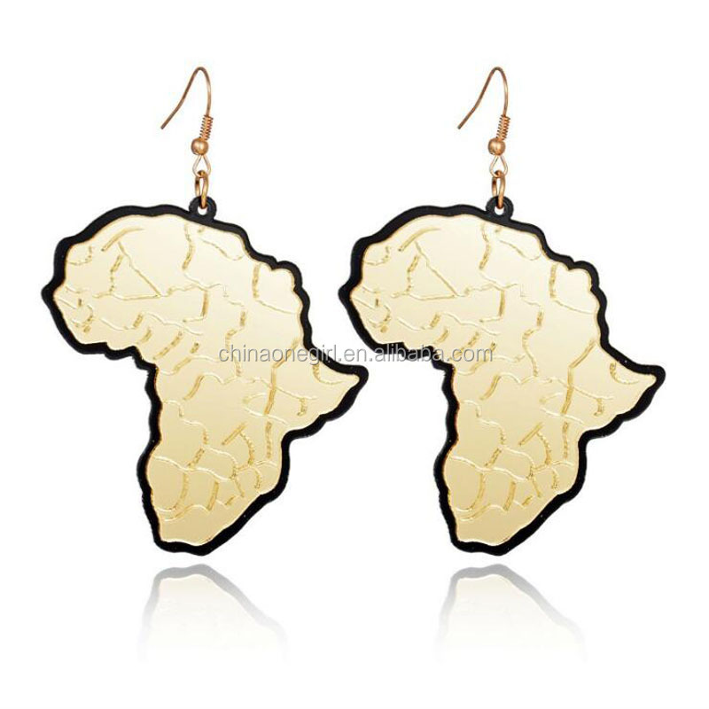 Double Layers Acrylic Mirror Africa Map African Style Drop <strong>Earring</strong>
