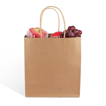 biodegradable brown kraft paper bag packaging takeaway gifts bag with handles made China