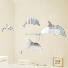 adhesive back plastic acrylic wall mirror sticker decor in dolphin shape
