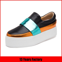 OEM customized high quality comfortable perfect color splicing flat shoes pictures leather ladies cheap casual shoes 2016