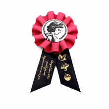 Christmas Textile Award Ribbon Badge Tin Metal Cartoon Party Badges With Accessories