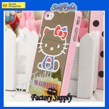 For iphone 4/4s plastic cover case with cute hello kitty mirror face