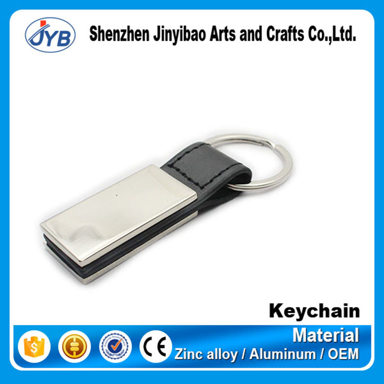 hot sale business gift custom engraving logo metal leather keychain