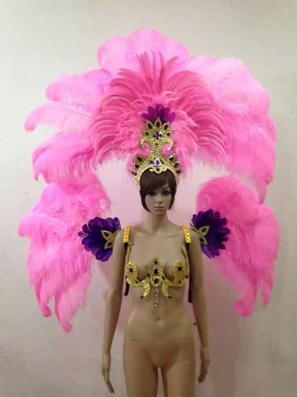Feather headdress feather backpieces Feather backpack Ostrich feathers costume