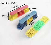 HQ0578R plastic broom machinery make cheap PP broom with color brush bristle