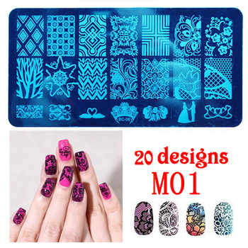 Best Selling Products Nail Supplies12*6cm Big Size Nail Art Stamping Plates Metal Material Nail Art With 20 Designs