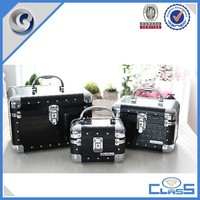 New Black Durable PU Leather Fashion Professional Aluminum Cosmetic Case MLD-AC2708