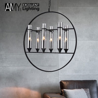 Modern Wrought Iron Round Clear E14 Indoor glass Tube pendant lamp