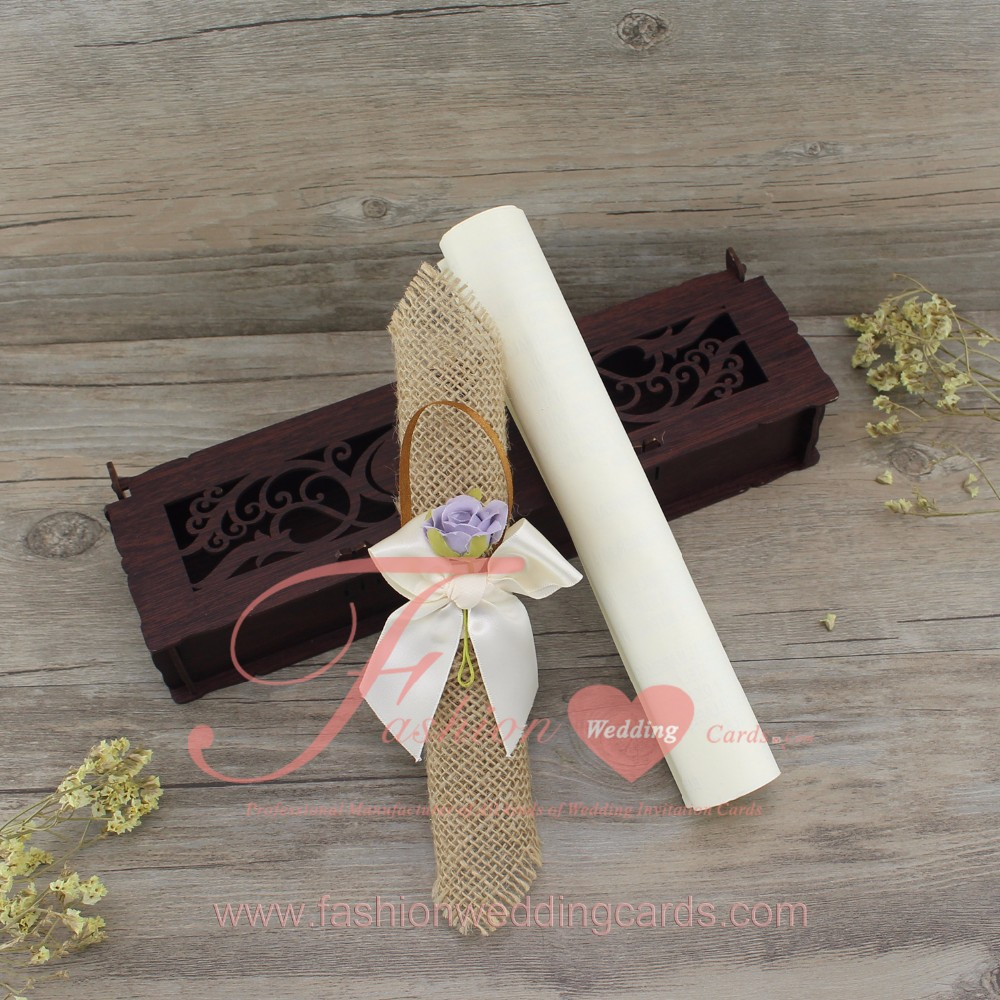 2017 Creative Design Laser Cut Wooden Box with Scroll Wedding Invitation
