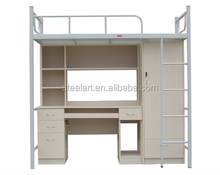 Wood double wall bed design with box and ladder