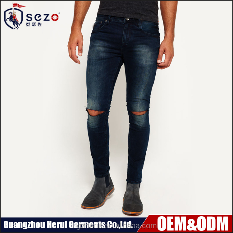 Fashion Man Ripped Damaged Jeans Trousers Wholesale Custom Skinny Denim Jeans Pants For Men