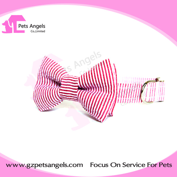 Popular Canvas cotton stripe pet dog collar bow tie pet accessories wholesale in alibaba