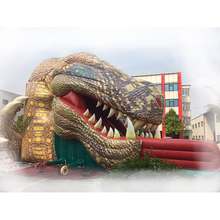 Outdoor large inflatable simulation dinosaur connecting slide