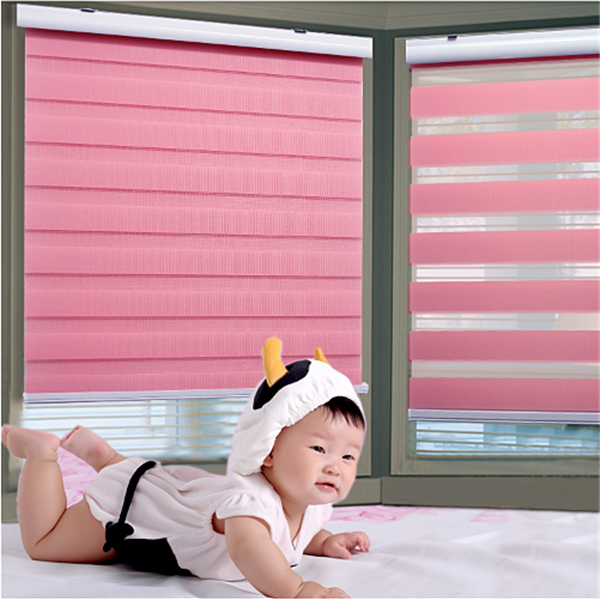 Customized Environmental fabric Non-toxic baby security Motorized Korea soft blinds