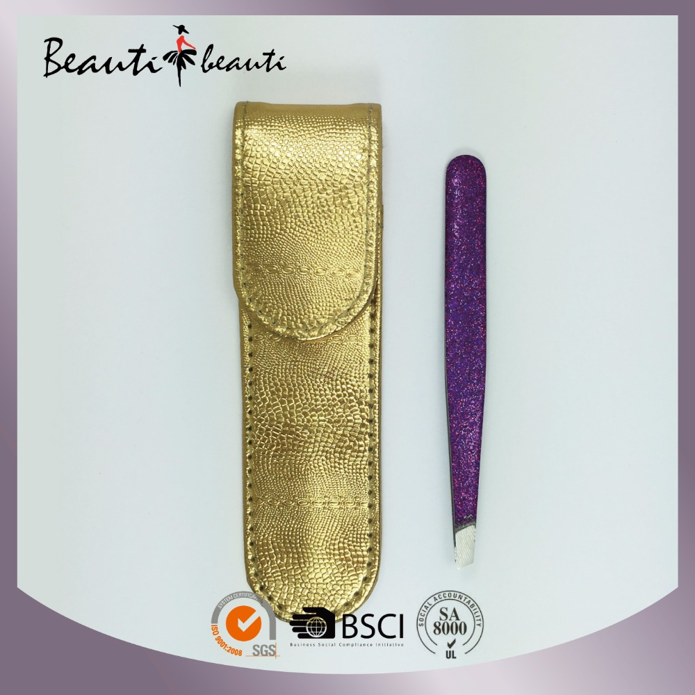 High Quality Tweezers with Glitter finishing & Metallic PU Pouch