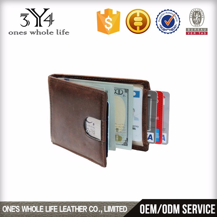 RFID Blocking Bifold Slim Genuine Leather Thin Minimalist Front Pocket Wallets for Men Money Clip Made From Full Grain Leather