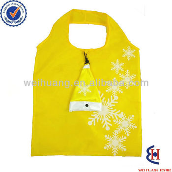 2015 polyester foldable christmas shopping bag