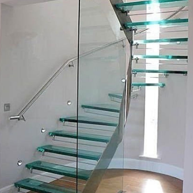 Hot sell house Invisible Stringer Floating Tempered Glass Staircase design