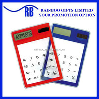 Hot selling cheap plastic touch Screen Solar Transparent Calculator for promotion