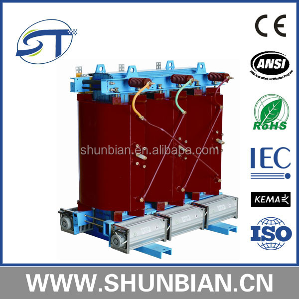 cast resin H class insulation level 315kva sc9 dry type distribution transformer with dyn11 or yyn0 connection symbol good saler