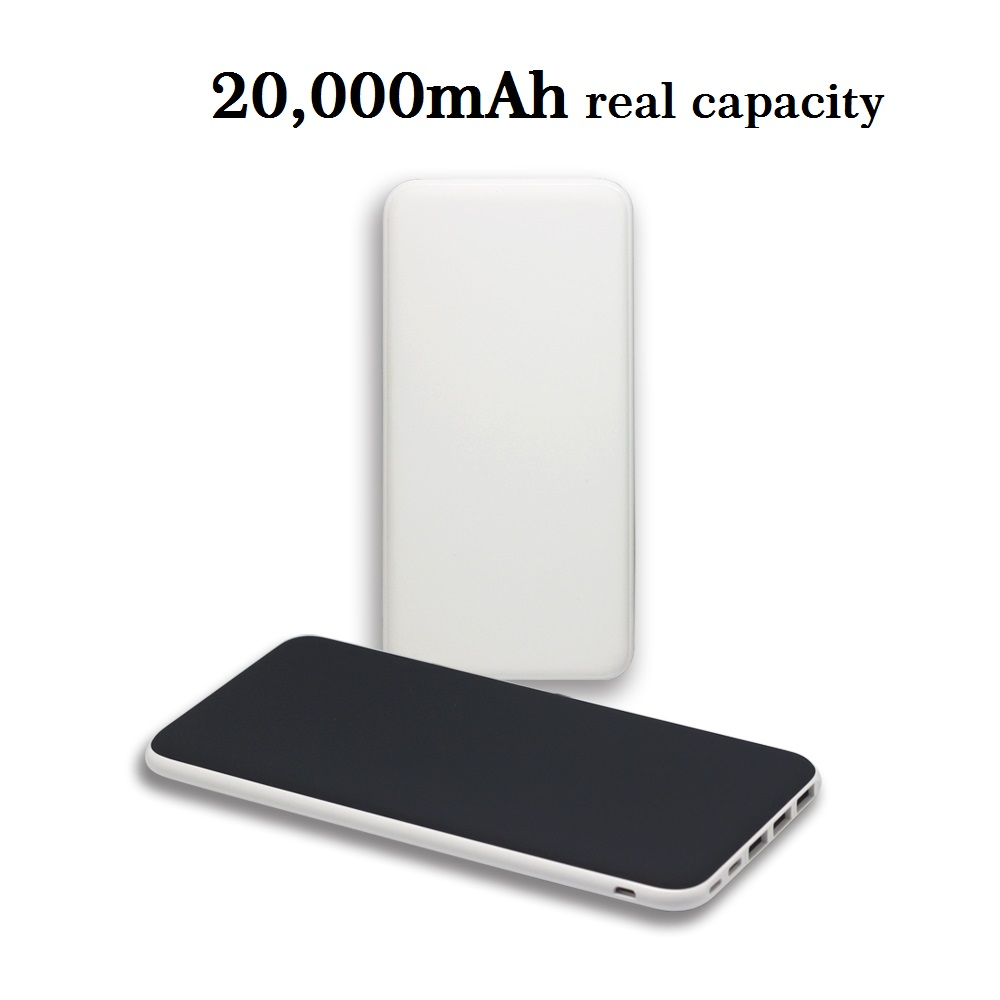 Universal slim rubber finished portable power bank 20000mah