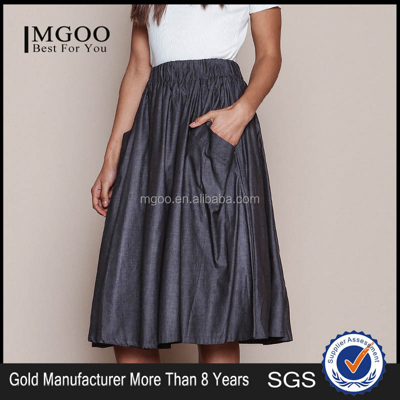 MGOO Elegant Hot Sale Black Midi Skirt With Pockets Fashion OEM African Skirts Chambray Flare Dress