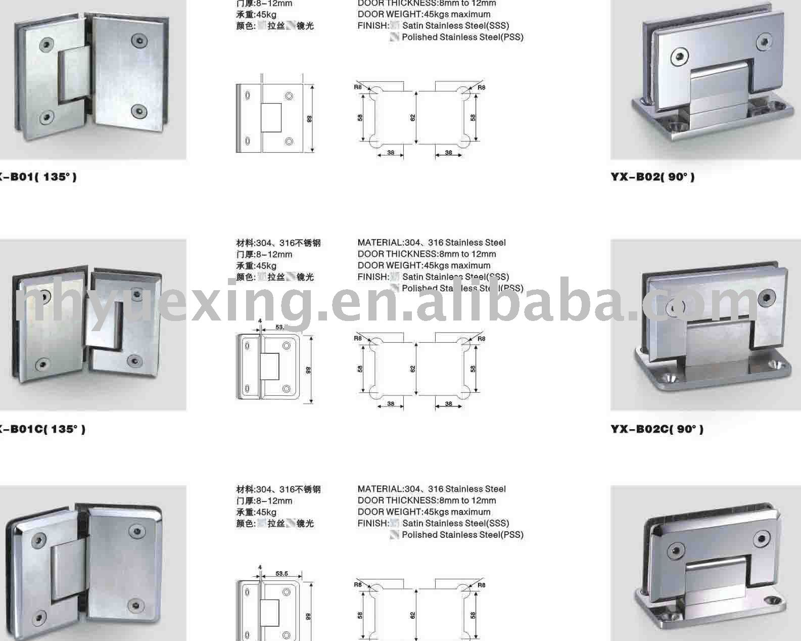 Glass to glass door hinges - Stainless Steel Glass Door Hinges Buy Glass Door Hinge Glass Door Hinge Yx B Shower Door Hinge Product On Alibaba Com