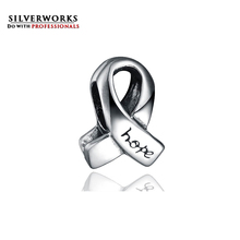 925 sterling silver breast cancer awareness ribbon engraved hope bead