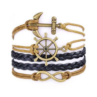 Fashion Custom Wholesale Cheap Infinity Rudder Anchor Waxed Cotton Cord Friendship Bracelets
