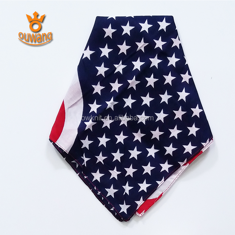 Promotional Customized Design 100 Cotton Printing Head Kerchief Square Bandana